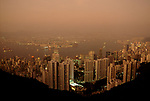 Air pollution Hong Kong island, view from the top of Victoria Peak looking down onto skyscrapers in the distance Kowloon mainland Hong Kong 1990s