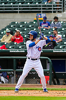 Iowa Cubs outfielder Donnie Dewees (5) at bat during a Pacific Coast League game against the San Antonio Missions on May 2, 2019 at Principal Park in Des Moines, Iowa. Iowa defeated San Antonio 8-6. (Brad Krause/Four Seam Images)