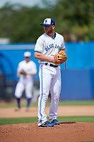 Dunedin Blue Jays relief pitcher Travis Bergen (29) set to deliver a pitch during a game against the Lakeland Flying Tigers on May 27, 2018 at Dunedin Stadium in Dunedin, Florida.  Lakeland defeated Dunedin 2-1.  (Mike Janes/Four Seam Images)