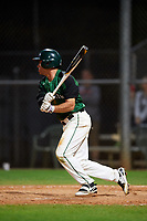 Dartmouth Big Green left fielder Hayden Rappoport (20) hits a single during a game against the Northeastern Huskies on March 3, 2018 at North Charlotte Regional Park in Port Charlotte, Florida.  Northeastern defeated Dartmouth 10-8.  (Mike Janes/Four Seam Images)