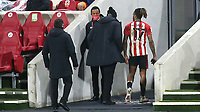 Ivan Toney of Brentford walks to the dressing room after being sent off during Brentford vs Luton Town, Sky Bet EFL Championship Football at the Brentford Community Stadium on 20th January 2021