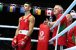 Glasgow 2014 Commonwealth Games<br /> <br /> Joseph Cordina, Wales (red) v Charlie Flynn, Scotland (blue)<br /> Wales coach Colin Jones<br /> <br /> 01.08.14<br /> ©Steve Pope-SPORTINGWALES
