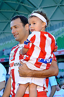 MELBOURNE, AUSTRALIA - FEBRUARY 12: Josip Skoko enters the arena in his final game in his career in the round 27 A-League match between the Melbourne Heart and Sydney FC at AAMI Park on February 12, 2011 in Melbourne, Australia. (Photo Sydney Low / AsteriskImages.com)