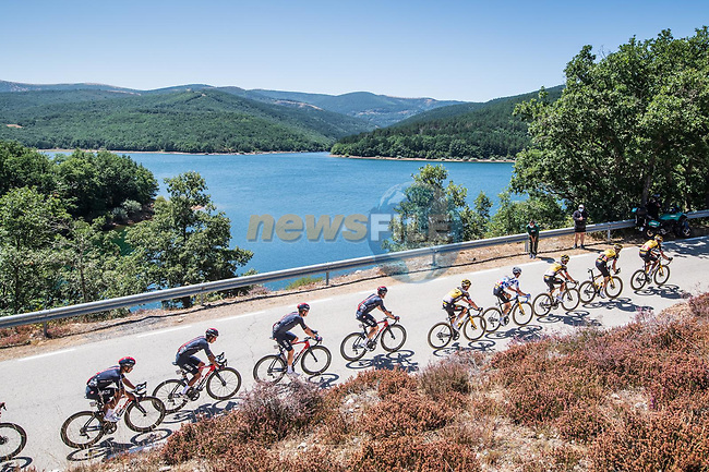 The peloton led by Jumbo-Visma during Stage 3 of La Vuelta d'Espana 2021, running 202.8km from Santo Domingo de Silos to Picon Blanco, Spain. 16th August 2021.    <br /> Picture: Unipublic/Charly Lopez | Cyclefile<br /> <br /> All photos usage must carry mandatory copyright credit (© Cyclefile | Unipublic/Charly Lopez)
