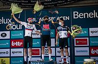 Final Benelux Tour GC podium:<br /> 1/ Sonny Colbrelli (ITA/Bahrain - Victorious)<br /> 2/ Matej Mohoric (SVN/Bahrain - Victorious)<br /> 3/ Victor Campenaerts (BEL/Qhubeka NextHash)<br /> <br /> 17thBenelux Tour 2021 (2.UWT)<br /> (Final) Stage 7: from Namur to Geraardsbergen (178km)<br /> <br /> ©kramon