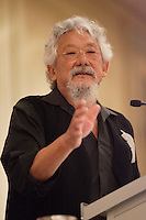 Montreal (QC) CANADA, June 10 2010 -Dr. David T. Suzuki, Scientist and environmentalist, Co-Founder of the David Suzuki Foundation, at the Canadian Club of Montreal's podium<br /> . David Suzuki, Co-Founder of the David Suzuki Foundation, is an award-winning scientist, environmentalist and broadcaster. He is renowned for his radio and television programs that explain the complexities of the natural sciences in a compelling, easily understood way.