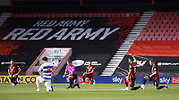 17th October 2020; Vitality Stadium, Bournemouth, Dorset, England; English Football League Championship Football, Bournemouth Athletic versus Queens Park Rangers; players kneel before kick off
