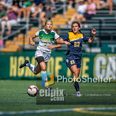 1 September 2019: University of Vermont Catamount Defender Christina Barry, a Senior from Apple Valley, MN, battles Merrimack College Warrior Forward Molly Murnane, a Freshman from Scarborough, Maine, in Game 3 of the TD Bank Women's Soccer Classic at Virtue Field in Burlington, Vermont. The Lady Warriors rallied in the second half to defeat the Catamounts 2-1. Mandatory Credit: Ed Wolfstein Photo *** RAW (NEF) Image File Available ***