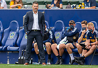 CARSON, CA - APRIL 25: Manager of the Los Angeles Galaxy Greg Vanney during a game between New York Red Bulls and Los Angeles Galaxy at Dignity Health Sports Park on April 25, 2021 in Carson, California.