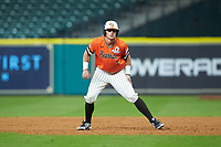 Hunter Hearn (8) of the Sam Houston State Bearkats takes his lead off of first base against the Mississippi State Bulldogs during game eight of the 2018 Shriners Hospitals for Children College Classic at Minute Maid Park on March 3, 2018 in Houston, Texas. The Bulldogs defeated the Bearkats 4-1.  (Brian Westerholt/Four Seam Images)