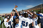 Pahranagat Valley celebrates after defeating Whittell 54-28 in the NIAA DIV championship game at Dayton High School in Dayton, Nev., on Saturday, Nov. 21, 2015. (Cathleen Allison/Las Vegas Review Journal)