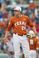 Texas Longhorns pitcher Parker French #24 in action against the Oklahoma Sooners in the NCAA baseball game on April 5, 2013 at UFCU DischFalk Field in Austin Texas. Oklahoma defeated Texas 2-1. (Andrew Woolley/Four Seam Images).