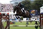 August 07, 2009: Ireland's Olympic gold medalist Cian O'Connor in action aboard Rancorrado. Meydan FEI Nations Cup. Failte Ireland Horse Show. The RDS, Dublin, Ireland.