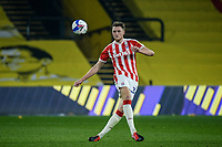 4th November 2020; Vicarage Road, Watford, Hertfordshire, England; English Football League Championship Football, Watford versus Stoke City; Harry Souttar (Stoke City) plays the ball forward