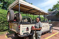 Botswana, Kasane, Chobe National Park, Chobe Game Lodge, Malebogo Lebo Kgoleng, one of Chobe's women guides with new electric game viewing vehicles.