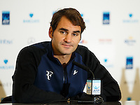 Roger Federer is interviewed during a media day at the Barclays ATP World Tour Finals at The O2 centre, North Greenwich, London.