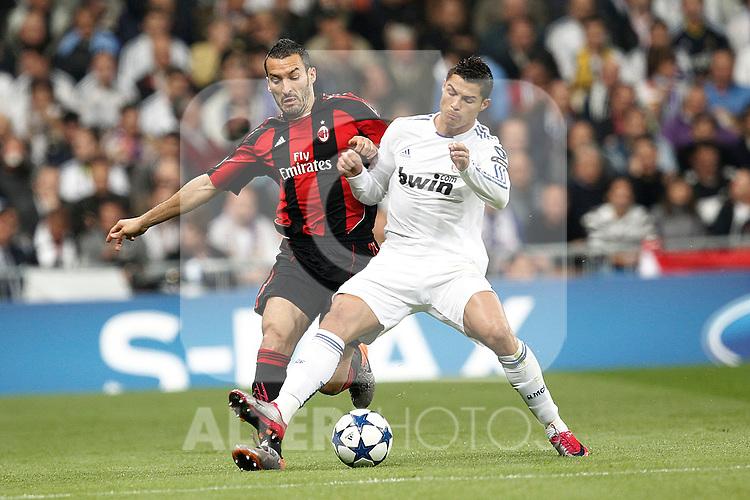Real Madrid's Cristiano Ronaldo and Milan's Gianluca Zambrotta during champions league match ..Photo: Cesar Cebolla  / ALFAQUI
