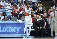 CHAPEL HILL, NC - FEBRUARY 25: Leaky Black #1 of the University of North Carolina holds the ball during a game between NC State and North Carolina at Dean E. Smith Center on February 25, 2020 in Chapel Hill, North Carolina.