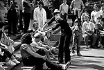 Mime performing at Seattle Center having fun with crowd white face and surprised look Seattle Washington State USA