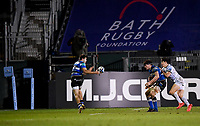 19th February 2021; Recreation Ground, Bath, Somerset, England; English Premiership Rugby, Bath versus Gloucester; Will Muir of Bath receives the ball with a clear run for the try line