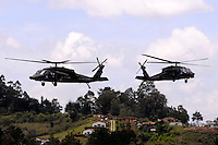 RIONEGRO - COLOMBIA - 12-07-2013: Helicopteros Arpias de la Fuerza Aerea de Colombia, en el aeropuerto de Rionegro, julio 12 de 2013. Se realiza en el Aeropueto Rionegro la F Air Colombia 2013, que se ha constituido como una de las exposiciones más representativas de la aviación en Latinoamérica. (Foto: VizzorImage / Luis Rios / Str.)  Helicopters Harpies the Colombia Air Force at the airport in Rionegro, July 12, 2013. It takes place in the Rionegro airport the F Air Colombia 2013, which has become one of the most representative exhibitions of aviation in Latin America. (Photo: VizzorImage / Luis Rios / Str)