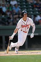 Left fielder Jordan Wren (3) of the Greenville Drive bats in a game against the Hickory Crawdads on Tuesday, April 30, 2019, at Fluor Field at the West End in Greenville, South Carolina. Hickory won, 5-4. (Tom Priddy/Four Seam Images)