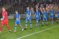 Gent's team entering the pitch in Corona style with Gent's goalkeeper Nicky Evrard (1)   Gent's Rkia Mazrouai (2)   Gent's Heleen Jaques (4)   Gent's Fran Meersman (5)   Gent's Emma Van Britsom (6)   Gent's Jolet Lommen (9)  pictured during a female soccer game between  AA Gent Ladies and Oud Heverlee Leuven on the 9th matchday of the 2020 - 2021 season of Belgian Scooore Womens Super League , friday 11 th of December 2020  in Oostakker , Belgium . PHOTO SPORTPIX.BE | SPP | DIRK VUYLSTEKE