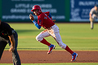 Clearwater Threshers Yhoswar Garcia (9) steals third base during a game against the Tampa Tarpons on June 10, 2021 at BayCare Ballpark in Clearwater, Florida.  (Mike Janes/Four Seam Images)