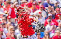 14 April 2013: Washington Nationals catcher Kurt Suzuki in action against the Atlanta Braves at Nationals Park in Washington, DC. The Braves shut out the Nationals 9-0 to sweep their 3-game series. Mandatory Credit: Ed Wolfstein Photo *** RAW (NEF) Image File Available ***
