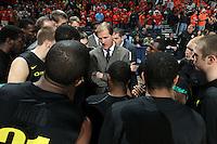 Dec. 17, 2010; Charlottesville, VA, USA; Oregon Ducks head coach Dana Altman talks with his team during the game against the Virginia Cavaliers at the John Paul Jones Arena. Mandatory Credit: Andrew Shurtleff