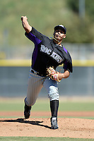 Colorado Rockies pitcher Antonio Senzatela (83) during an instructional league game against the Los Angels Angels of Anaheim on September 30, 2013 at Tempe Diablo Stadium Complex in Tempe, Arizona.  (Mike Janes/Four Seam Images)