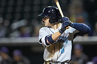 Kyle Isbel (6) of the Wilmington Blue Rocks at bat against the Winston-Salem Dash at BB&T Ballpark on April 16, 2019 in Winston-Salem, North Carolina. The Blue Rocks defeated the Dash 4-3. (Brian Westerholt/Four Seam Images)