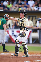 UCF Knights catcher Matt Diorio (14) signals one out during a game against the Siena Saints on February 21, 2016 at Jay Bergman Field in Orlando, Florida.  UCF defeated Siena 11-2.  (Mike Janes/Four Seam Images)