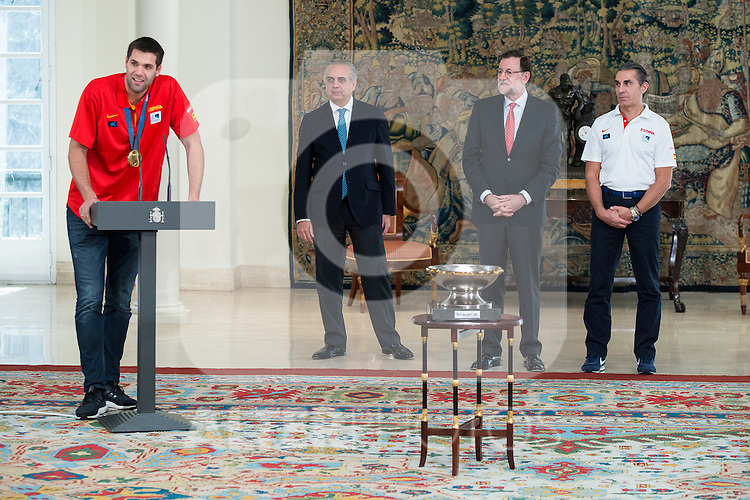 The reception of Prime Minister Mariano Rajoy to Spain national basketball team gold at EuroBasket 2015 at Moncloa Palace in Madrid, 21 September, 2015.<br /> Felipe Reyes, FEB President Jose Luis Saez, Prime Minister Mariano Rajoy and Coach Sergio Scariolo.<br /> (ALTERPHOTOS/BorjaB.Hojas)