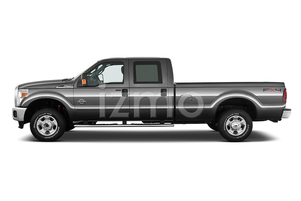 Driver side profile view of a 2011 Ford F-250 Crew Cab 4x4.