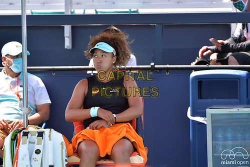 MIAMI GARDENS, FLORIDA - MARCH 26: Naomi Osaka of Japan defeats Ajla Tomljanović of Australia on Day 5 of the 2021 Miami Open on March 26, 2021 in Miami Gardens, Florida<br /> People:  Naomi Osaka <br /> CAP/MPI122<br /> ©MPI122/Capital Pictures