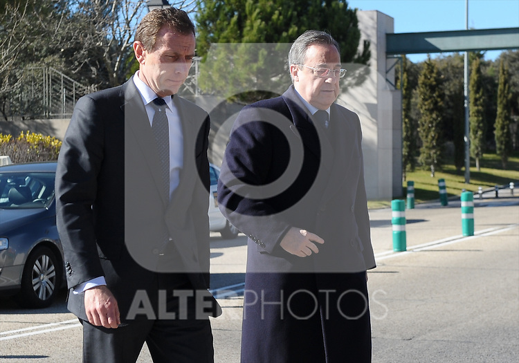 Real Madrid's President Florentino Perez (r) with the Institutional Representative Emilio Butragueño (l) during the funeral ceremony in memory of the national soccer team coach Luis Aragones. February 2, 2014. (ALTERPHOTOS/S.Lopez)