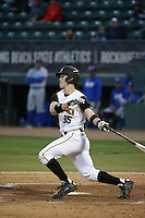 Daniel Jackson (35) of the Cal State Long Beach Dirtbags bats against the UC Santa Barbara Gauchos at Blair Field on April 1, 2016 in Long Beach, California. UC Santa Barbara defeated Cal State Long Beach, 4-3. (Larry Goren/Four Seam Images)