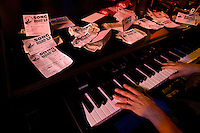 Song requests line the piano top at the Howl at the Moon nightclub in Charlotte, NC. Photos taken with permission of management.