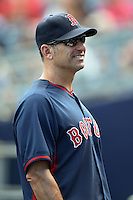 Boston Red Sox bench coach Torey Lovullo (17) during a spring training game against the Tampa Bay Rays on March 25, 2014 at Charlotte Sports Park in Port Charlotte, Florida.  Boston defeated Tampa Bay 4-2.  (Mike Janes/Four Seam Images)