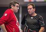 Toronto, ON - Aug 8 2015 - John MacPherson talks to after Martin Pelletier competed in Group C MS9 table tennis in the ATOS Markham Centre during the Toronto 2015 Parapan American Games  (Photo: Matthew Murnaghan/Canadian Paralympic Committee)