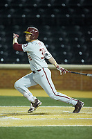 Rhett Aplin (38) of the Florida State Seminoles follows through on his swing against the Wake Forest Demon Deacons at David F. Couch Ballpark on March 9, 2018 in  Winston-Salem, North Carolina.  The Seminoles defeated the Demon Deacons 7-3.  (Brian Westerholt/Four Seam Images)