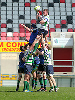 Monday 22nd April 2019   2019 McCrea Cup Final<br /> <br /> Andrew Kelly during the McCrea Cup final between Queens 2s and Grosvenor at Kingspan Stadium, Ravenhill Park, Belfast. Northern Ireland. Photo John Dickson/Dicksondigital