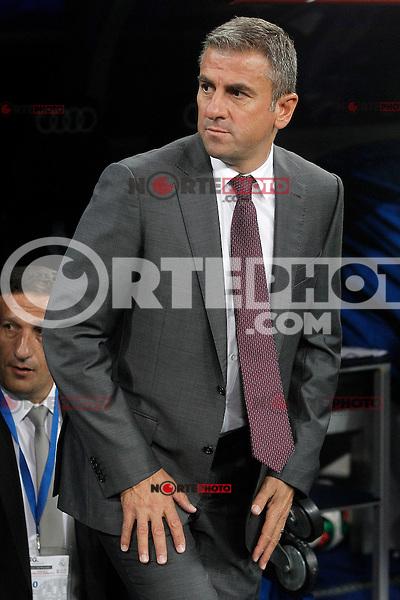 Galatasaray's coach Hamza Hamzaoglu during XXXVI Santiago Bernabeu Trophy. August 18,2015. (ALTERPHOTOS/Acero)