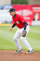 Kannapolis Intimidators second baseman Zachary Voight (8) on defense against the Greenville Drive at CMC-Northeast Stadium on April 6, 2014 in Kannapolis, North Carolina.  The Intimidators defeated the Drive 8-5.  (Brian Westerholt/Four Seam Images)