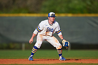 South Dakota State Jackrabbits second baseman Braeden Brown (32) during a game against the Northeastern Huskies on February 23, 2019 at North Charlotte Regional Park in Port Charlotte, Florida.  Northeastern defeated South Dakota State 12-9.  (Mike Janes/Four Seam Images)