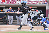 Quad Cities River Bandits center fielder Daz Cameron (16) swings during a game against the Wisconsin Timber Rattlers at Fox Cities Stadium on June 27, 2017 in Appleton, Wisconsin.  Wisconsin lost 6-5.  (Dennis Hubbard/Four Seam Images)