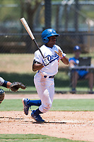 AZL Dodgers center fielder Aldrich De Jongh (51) starts down the first base line during an Arizona League game against the AZL Padres 2 at Camelback Ranch on July 4, 2018 in Glendale, Arizona. The AZL Dodgers defeated the AZL Padres 2 9-8. (Zachary Lucy/Four Seam Images)