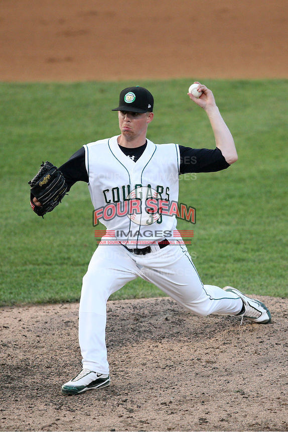 May 27, 2010: AJ Huttenlocker (33) of the Kane County Cougars at Elfstrom Stadium in Geneva, IL. The Cougars are the Midwest League Class A affiliate of the Oakland Athletics. Photo by: Chris Proctor/Four Seam Images