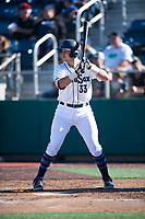 Everett AquaSox designated hitter Cal Raleigh (33) at bat during a Northwest League game against the Tri-City Dust Devils at Everett Memorial Stadium on September 3, 2018 in Everett, Washington. The Everett AquaSox defeated the Tri-City Dust Devils by a score of 8-3. (Zachary Lucy/Four Seam Images)